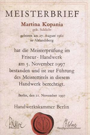 Meisterbrief - Martina Kopania